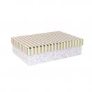 ARTE kinkekarp Valge täpid/triibud 22x15,5x6cm