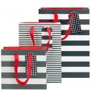 ARTEBENE kinkekott Mustad-valged triibud 30x22x11cm