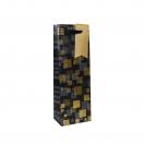 ARTE kinkekott pudelile Black Label kuldne/hall ruudud 12x35x8cm*