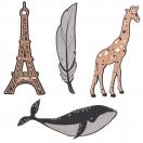 *ARTEBENE järjehoidja Vaal/Kaelkirjak/Sulg/Eiffel assortii