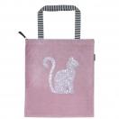 ARTE tekstiilkott lukuga We Love roosa kassiga 40x45cm