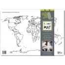 Lauamatt korduv-värvitav maailmakaart valgel taustal 48 x 33,5 cm