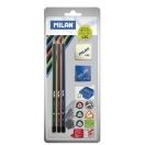MILAN harilik pliiats kolmnurkne HB, B, 2B+teritaja+kumm blistril