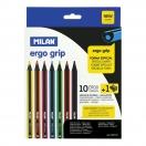 MILAN värvilised pliiatsid 10tk + teritaja Ergo Grip*