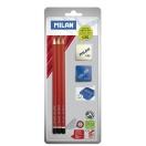 *MILAN harilik pliiats HB, 3 tk+teritaja+kumm blistril