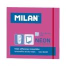 MILAN märkmepaber 7,6x7,6cm neoonroosa